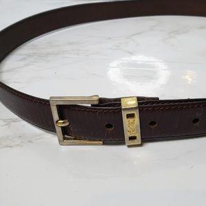 Vintage YSL Brown Leather Belt